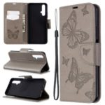 Imprint Butterfly Leather Wallet Case for Huawei Honor 20s (Global Edition) – Grey