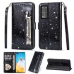 Glitter Powder Zippered Stand Leather Wallet Case with Strap for Huawei P40 – Black
