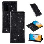 Flash Powder Auto-absorbed Leather Casing Stand Shell for Huawei P40 – Black