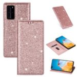 Flash Powder Auto-absorbed Leather Shell with Card Slot for Huawei P40 Pro – Rose Gold