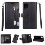 Multi-slot Wallet Zippered Leather Stand Case for Huawei P40 Lite/Nova 7i/Nova 6 SE – Black