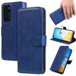 PU Leather Phone Stand Wallet Case Shell for Huawei P40 – Blue