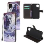 Pattern Printing Cross Texture Leather Wallet Cover with Strap for Huawei P40 Lite/Nova 7i/Nova 6 SE – Wolf