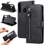Zipper Pocket PU Leather Wallet Case Stand Phone Cover for Huawei P40 Lite E / Y7p – Black