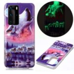 IMD Patterned TPU Case Luminous Phone Cover for Huawei P40 Pro – Wolf and Moon