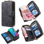 BF001 Leather Wallet Anti-Gravity Zip Handbag Case for Huawei Y5 (2019)/Honor 8S – Black