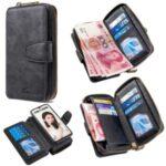 Zipper Wallet Leather Phone Case for Huawei P Smart (2019)/Nova Lite 3 (Japan)/Honor 10 Lite – Black