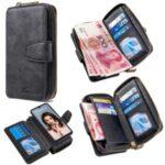BF001 Leather Wallet Anti-Gravity Handbag Phone Case for Huawei P30 Lite New Edition/P30 Lite/nova 4e – Black