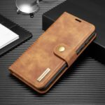 DG.MING Detachable 2-in-1 Split Leather Wallet Shell + PC Back Case for Huawei P40 – Brown