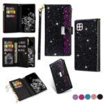 Glittery Starry Style Laser Carving Zipper Wallet Stand Leather Case for Huawei P40 Lite 4G/Nova 6 SE/Nova 7i – Black