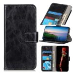 Crazy Horse Wallet Leather Stand Case for Motorola Moto G8 – Black