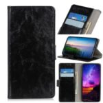 Crazy Horse Wallet Leather Stand Case Protective Shell for Motorola Moto G8 – Black