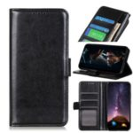 Crazy Horse Wallet Leather Protective Shell for Motorola Moto G8 – Black