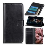 Crazy Horse Wallet Stand Leather Protector Shell for Motorola Moto G8 – Black
