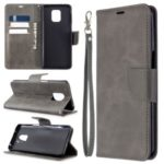 Wallet Stand Leather Phone Shell with Strap for Xiaomi Redmi Note 9/Note 9 Pro/Note 9S – Grey