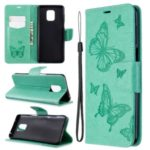 Imprint Butterflies Wallet Stand Flip Leather Case for Xiaomi Redmi Note 9/Note 9 Pro/Note 9S – Green