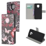 Phone Case Pattern Printing Wallet Flip Leather Cover for Xiaomi Redmi Note 9 Pro – Butterfly and Flower