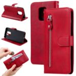 Fashion Zipper Pocket PU Leather Wallet Case Phone Cover for Xiaomi Redmi Note 9S/9 Pro Max/9 Pro – Red