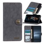 KHAZNEH Retro Split Leather Covering Wallet Protective Case for Xiaomi Mi 10 Lite 5G/Youth 5G – Black