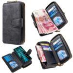 BF001 Detachable 2-in-1 Leather Shell Zipper Wallet Case for Xiaomi Redmi Note 8 Pro – Black