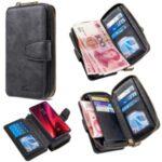 BF001 Leather Case Anti-Gravity Zip Wallet for Xiaomi Redmi K20/K20 Pro/Mi 9T/Mi 9T Pro – Black