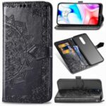 Embossed Mandala Flower Wallet Leather Magnetic Case for Xiaomi Redmi 8 – Black