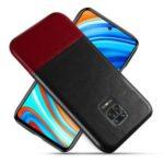 KSQ Bi-color Splicing PU Leather Coated PC Phone Case for Xiaomi Redmi Note 9S/Note 9 Pro/9 Pro Max – Black / Wine Red