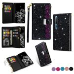 Glittery Starry Style Laser Carving Zipper Leather Phone Shell for Xiaomi Mi 10/Mi 10 Pro – Black