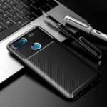 Anti-drop TPU Case Carbon Fiber Protective Phone Cover for Oppo A12 – Black