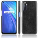 Litchi Surface PU Leather Coated Plastic Mobile Phone Hard Cover for Realme 6 – Black