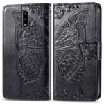 Imprint Big Butterfly Leather Wallet Phone Shell for Nokia 2.3 – Black