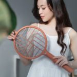 LED Foldable Electric Mosquito Killer Lamp Handheld Mosquito Swatter 2-in-1 Mosquito Killing Device – Red
