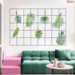 FANXI FX64133 Artistic Grid Iron Frame Hand – painted Green Leaves Dormitory Desk Wall Sticker