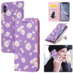 Daisy Pattern Flash Powder PU Leather Card Holder Shell for iPhone XS Max 6.5 inch – Purple