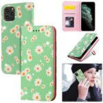 Daisy Pattern Flash Powder PU Leather Card Holder Shell for iPhone 11 Pro 5.8 inch – Green