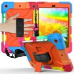 Rainbow Style 360° Swivel Handy Strap Kickstand PC Silicone Tablet Case with Shoulder Strap for iPad 10.2 (2019) – Rainbow/Orange