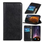 Auto-absorbed Crazy Horse Texture Split Leather Wallet Phone Case for iPhone 12 6.7-inch – Black