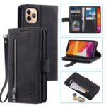Zipper Pocket 9 with Card Slots Leather Wallet Case for iPhone 11 Pro 5.8 inch – Black