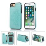 Imprint Mandala Flower Stand Leather Coated TPU Hybrid Case for iPhone 7/8/SE (2nd Generation) – Cyan