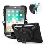 360° Swivel Kickstand PC + Silicone Combo Tablet Case with Handy Strap and Shoulder Strap for iPad 9.7-inch (2018) – Black