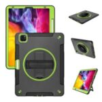 360° Swivel Handy Strap Kickstand PC + Silicone Combo Tablet Case with Shoulder Strap for iPad Pro 11-inch (2020)/(2018) – Green