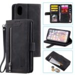 Zipper Pocket 9 Card Slots Leather Wallet Stand Phone Case for iPhone XR 6.1 inch – Black