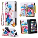 BF03 Pattern Printing Zipper Wallet Leather Protective Case for iPhone 6/6s 4.7-inch – Blue and White Butterfly