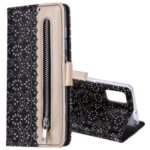 Lace Flower Pattern Zipper Pocket Wallet Leather Cover for Samsung Galaxy A51 5G SM-A516 – Black