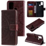 Imprint Flower Leather Wallet Cool Phone Casing for Samsung Galaxy A21s – Brown