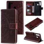Imprint Flower Leather Special Cover for Samsung Galaxy A21 – Brown