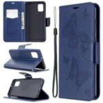 Imprint Butterfly Leather Wallet Phone Case for Samsung Galaxy A31 – Blue