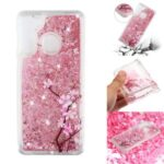 Patterned Glitter Powder Quicksand TPU Phone Cover for Samsung Galaxy A21 (International Version) – Flower