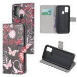 Pattern Printing PU Leather Wallet Stand Phone Cover for Samsung Galaxy M31 – Flowers and Butterflies