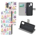 Pattern Printing PU Leather Wallet Stand Phone Cover for Samsung Galaxy M31 – Colorful Owls